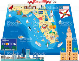 Map Florida Keys by Cartoon Map Of Florida Stock Vector Art 482688693 Istock
