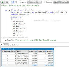 sql query join tutorial sql joins with c linq
