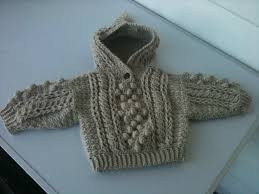 crochet baby hooded aran sweater cottage guardian