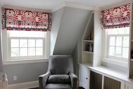 roman shades in quadrille island ikat in magenta with samuel and