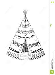 north american indian tipi with tribal ornament stock vector