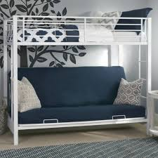 bedroom white iron frame twin over futon bunk bed with decorative