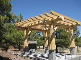 round log post and beam plus square log pergola pavillion