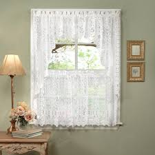 Curtain Shade Luxurious World Style White Lace Kitchen Curtains Tiers Shade