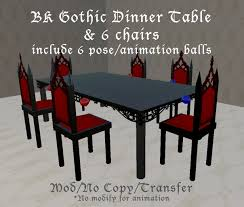 Gothic Dining Room Furniture Second Life Marketplace Mixy Bk Gothic Dinner Table U0026 6