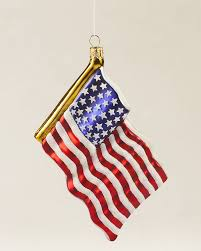 Decorative Holiday Flags American Flag Blown Glass Ornament Christmas Decorations