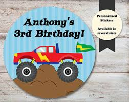 monster truck birthday stickers monster truck party favors
