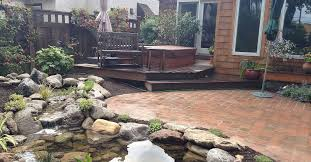 Paved Garden Design Ideas Stunning Landscape Design Ideas W Fish Pond Paver Patio By