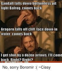 Boromir Memes - gandalf falls down bottomless lit fight balrog comes back aragorn