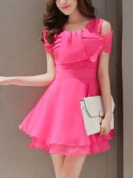 Pink Off Shoulder Fit U0026 Flare Above Knee Dress For Party Casual