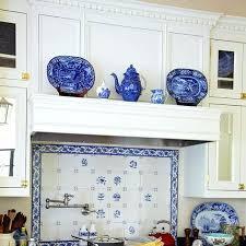 Blue And White Backsplash Tile Kitchen Fabulous White Kitchen