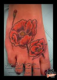 29 poppy flowers foot tattoos