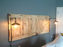How To Make Your Own Headboard And Footboard King Size Natural Headboard With Lights Headboard Pinterest