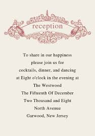wedding reception programs exles wedding invitation reception card wording sles yourweek
