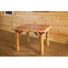 Dining Table 4 Chairs Set Rustic Red Cedar Log 42 X 42 Dining Table With 4 Chairs