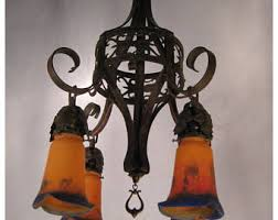 Art Nouveau Chandelier Art Nouveau Lighting Etsy
