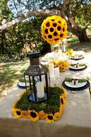 sunflower centerpieces creative idea outdoor party table decor with vintage brown metal