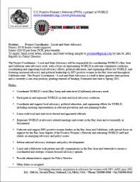 job opening project coordinator u2013 local and state advocacy world
