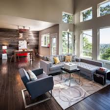 modern wood accent wall living room transitional with exposed
