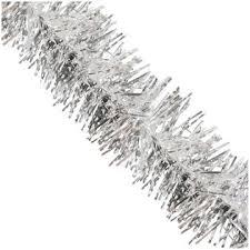 tinsel garland clear 50 standard tinsel garland silver snowy