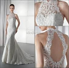 wedding dress high neck charming high neck lace bridal wedding dress sheath backless stain