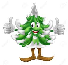 a happy christmas tree cartoon mascot giving a thumbs up royalty
