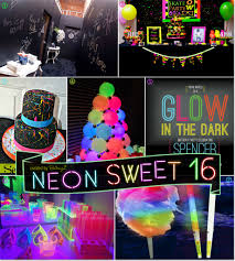 sweet 16 party decorations neon glow in the sweet 16 party theme ideas
