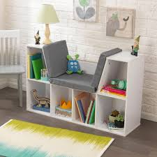 kids reading bench kids bookcase with reading nook cushion white wooden toy organizer