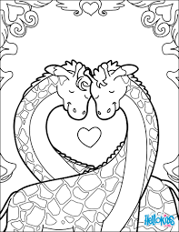 giraffes in love coloring pages hellokids com