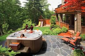 small backyard with above ground tub google search