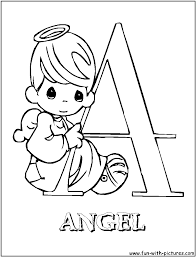 angel precious moments alphabet coloring pages free