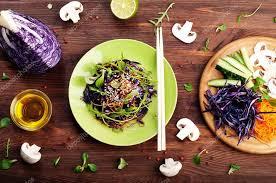 concept diet food delicious vegetarian salad of arugula leaf