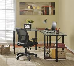 dorel cruz cherry black glass top l desk
