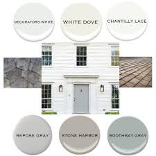 exterior idea board white siding gray door bm decorators