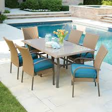 Patio Furniture At Home Depot - hampton bay corranade 7 piecec wicker outdoor dining set with