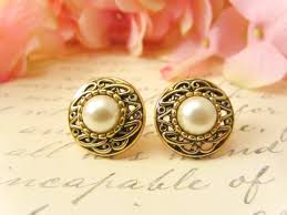 vintage earrings antique gold pearl earrings vintage button earrings vintage