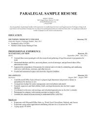 Sample Paralegal Resume by Paralegal Resume Sample Resume For Paralegal Resumes For