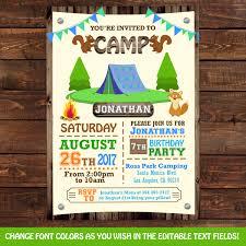 camping tent birthday invitations camping party invitations