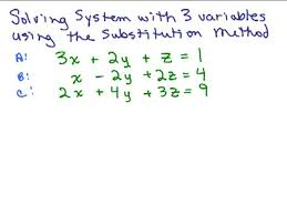 systems of linear equations three variables easy a systems of equations substitution worksheet