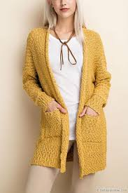 yellow sweater sleeve knit open front cardigan sweater with pockets mustard yellow