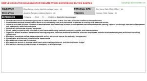 Housekeeper Resume Samples Free Executive Housekeeper Resume Sample