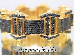 black diamond gold bracelet images 10k yellow gold mens black diamond bracelet 19 00 ctw jpg