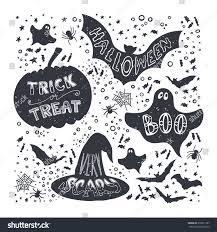 set halloween pumpkin witch hat bat stock vector 318651167