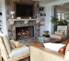 stone gas fireplace mantel beach style orange county with shelf