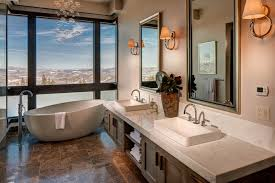 modern bathrooms with mountain views