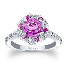 sapphire halo engagement rings barkev s pink sapphire halo engagement ring psc 7964lps