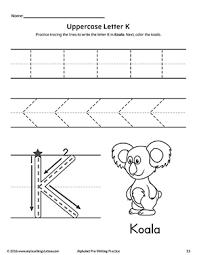 uppercase letter k pre writing practice worksheet writing