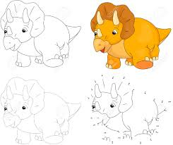 cartoon triceratops dot to dot educational game for kids vector