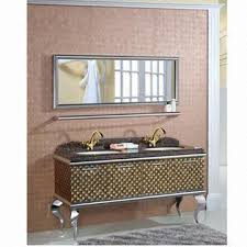 luxury 304 stainless steel bathroom cabinet with mirror and shelf