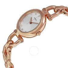 chain link bracelet watches images Fossil olive silver dial rose gold tone steel link bracelet ladies jpg